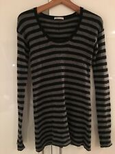 Vince STRETCH Cashmere Grigio Nero Breton Stripe Sweater Maglione XS S Small