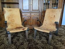 Vintage 2 Mexican Leather Recostada chairs Mission, Hacienda style
