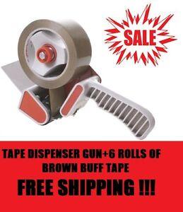 Tape Dispenser Gun + 6 Rolls Brown Parcel Packing Packaging Tape 50mm x 66M