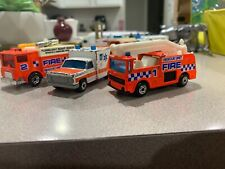 Vintage MATCHBOX Fire Rescue Unit Auxiliary Truck Snorkel Ambulance 1981 1977