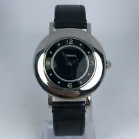 Vintage Fossil Womens ES1672 Black Dial Black Leather Band Analog Watch