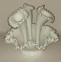 Vintage Fenton 4 Piece Epergne White Silver Crest Milk Glass Vase Centerpiece