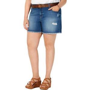 Style & Co. Womens Distressed Raw Hem Denim Denim Shorts Plus BHFO 3139