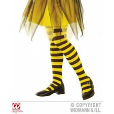 Childrens Yellow & Black Striped Tights Girls Bumble Bee Fancy Dress 4-6 Yrs