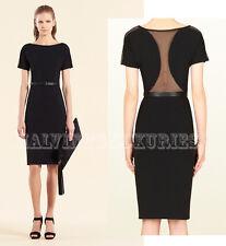 $1,995 GUCCI DRESS BLACK JERSEY MESH BACK w LEATHER BELT size M Medium