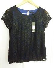 size 10 petite M&Co black/blue floral sparkly dressy top