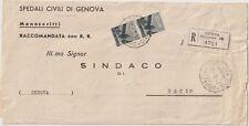 ITALIA 1947 COPPIA 10L DEMOCRATICA SU LETTERA RACCOMANDATA DA GENOVA PER USCIO