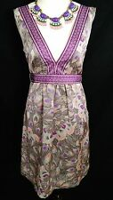 H & M Womens SZ 6 Purple Peacock Print Deep V Neck Sleeveless Boho Party Dress