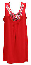 New Womens Ladies Plus Size Sleeveless Beaded Stud Long Top Vest T-Shirts 14 -28