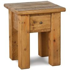 NEW SOLID WOOD CHUNKY RUSTIC PLANK PINE LAMP TABLE STAND POT END SIDE DRAWER
