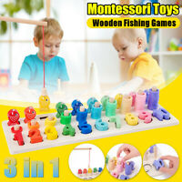 3 in 1 Montessori Math Toys Wooden Toys Fish Rings Counting Board Kid Hand Eye