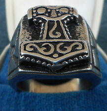 """GERMAN """"HAMMER OF THOR"""" RUNIC SILVER RING"""