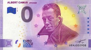37 DESCARTES Albert Camus, L'étranger, 2021, Anniversaire, Billet Euro Souvenir