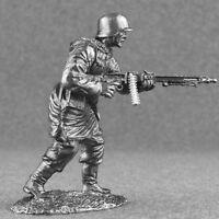 World War 2 Machine Gunner Waffen SS Gun Metal 1/32 Scale Toy Tin Soldier 54mm