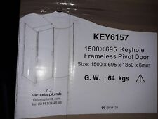 KEYHOLE FRAMELESS PIVOT SHOWER ENCLOSURE WITH SHOWER TRAY LEFT HANDED