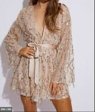 """""""In The Style"""" Gold Tassel Sequin Wrap Dress - Size 14"""