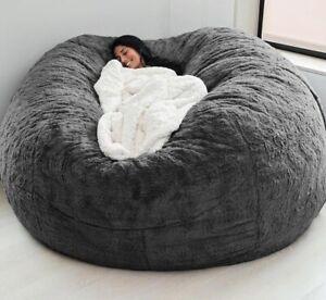 7ft Giant Fur Bean Bag Cover Soft Fluffy Fur Portable Living Room Sofa Bed