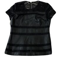 RED Saks Fifth Avenue Size Medium M Black Faux Leather & Lace Top Zipper Back
