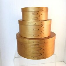 Set 3 Graduated Round Nesting Stacking Finger Lapping Wooden Shaker Pantry Boxes