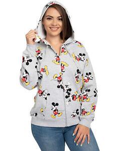 Women's Plus Size Disney Mickey Mouse Zip Hoodie All-Over Print Sweatshirt Gray