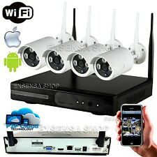 KIT VIDEOSORVEGLIANZA WIRELESS DVR NVR 4 CANALI 4 TELECAMERA WIRELESS