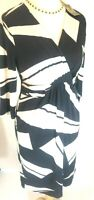 New Planet dress Jersey mock wrap Blue Ivory Ruched Bodycon Abstract rrp £99