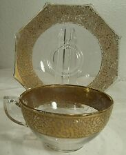 Elegant Depression Glass Liberty Works Gold Encrusted Rim Cup(s) & Saucer(s)
