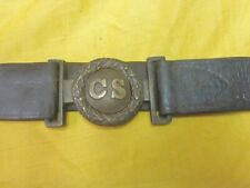 Confederate Civil War Richmond Depot Cs tongue and wreath buckle on belt Rare!