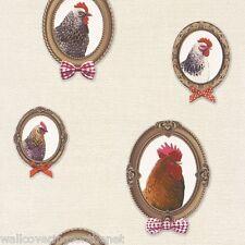 Molto insolito, polli in fotogrammi, Sfondo Color Crema, Carta da parati lavabile per cucina
