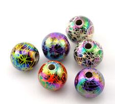 100 Mixte Perles intercalaire Acrylique Rond Motif 12mm Dia.B21876