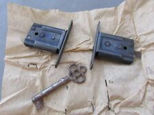 "(2) Nos Antique National Lock Co 1 1/8"" Mortise Locks Cabinet Drawer Insert"