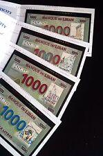 First > COLORIZED < Lebanese 1000 Livres full set of 4 Bills in folders Lebanon