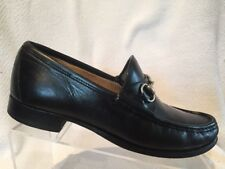 Gucci Black Leather Horsebit Moc Toe Loafer Shoes Mens 9 D Slip On Casual Italy