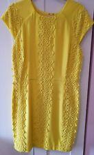 Definitions Women's Yellow Lace Detail Dress UK 16