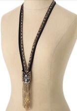 RARE Stella & Dot NILE Necklace Brand New in the Box Long Beaded Velvet & Fringe