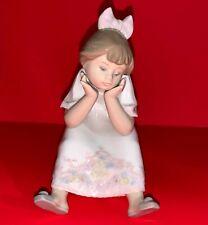 "Lladro #5649 ""Nothing to Do"" Figurine Sweet Bored Girl Child Sitting On Stool"
