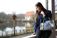 Jeans Umhängetasche, Tasche mit Strass Steinen, Handtasche in Farbe Blau Bronze