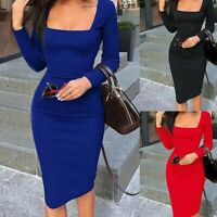 Midi Dress Short Bodycon Cocktail Long Sleeve Bandage Solid Womens Evening Party
