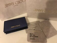 NWT Jimmy Choo Authentic Card Holder Wallet Snake Pattern Metallic With Box