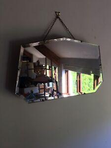 Vintage Art Deco Mirror frameless & Bevelled edged Mirror squared corners 54X32