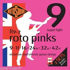 2 Sets Rotosound R9 Roto Pinks Electric Guitar Strings 09-42 Super Light