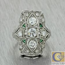 1920s Antique Art Deco Solid Platinum .76ctw Diamond Emerald Cluster Ring