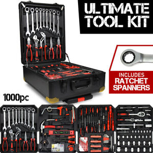 1000pc Tool Kit with RATCHET SPANNERS - Hand Tools Set  Box Toolbox Toolkit
