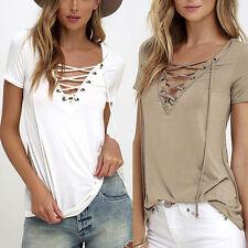 Mode d'été Femmes Col V Manches Courtes Hauts Lâche T-shirt Chemisier Chemise