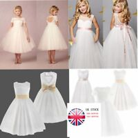 UK Flower Girls Formal Pageant Wedding Tulle Lace Dresses Bridesmaid Party Dress