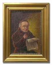 BROTHER READING MANUSCRIPT - Original Art Oil Painting from the 1940´s