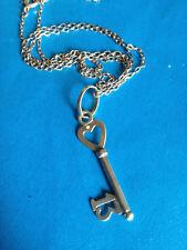 Pendentif + Chaine Argent 13 Porte-Bonheur Clé du Coeur / Silver Key Pendant