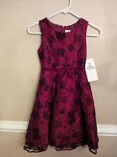 NWT - RARE EDITIONS - Girls Fancy Shortsleeve Dress -  Burgundy - Size 8