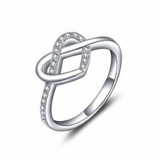 White Gold Plated Heart Engagement Costume Rings
