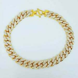 1.5Ct Round D/VVS1 Diamond Cuban Chain Link Bracelet in 10K Yellow Gold Over